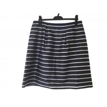 【中古】 ローズティアラ スカート サイズ46 XL レディース 新品同様 ネイビー シルバー ボーダー