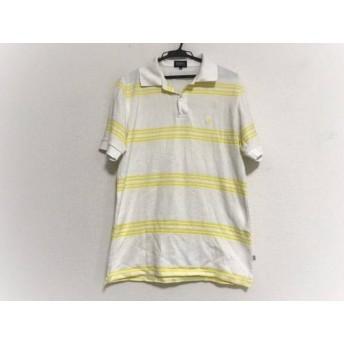 【中古】 パーリーゲイツ PEARLY GATES 半袖ポロシャツ サイズ4 XL メンズ アイボリー イエロー ボーダー