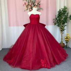 ハンドメイドウェディングドレス、オーガンジー、カラードレス、ワインレッド
