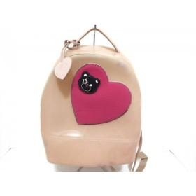 【中古】 フルラ リュックサック キャンディDJ ライトピンク ピンク マルチ ハート/クマ(取り外し可)