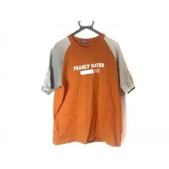 【中古】 パーリーゲイツ PEARLY GATES 半袖Tシャツ サイズ5 XL メンズ オレンジ ライトグレー