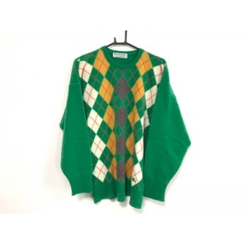 【中古】 バーバリーズ Burberry's 長袖セーター メンズ グリーン ライトブラウン マルチ アーガイル