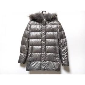【中古】 クードシャンス ダウンコート サイズ38 M レディース カーキグレー 冬物/ジップアップ/ファー
