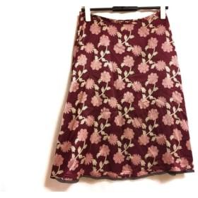 【中古】 トッカ TOCCA スカート サイズ2 S レディース ボルドー アイボリー ピンク 花柄