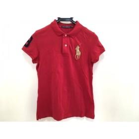 【中古】 ラルフローレンゴルフ 半袖ポロシャツ レディース ビッグポニー レッド ゴールド ネイビー