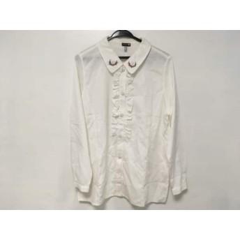 【中古】 マックデイビッド McDavid 長袖シャツブラウス サイズ42 L レディース 白 マルチ 刺繍/フリル