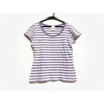 【中古】 アニエスベー agnes b 半袖Tシャツ サイズ2 M レディース 白 ライトブルー ボーダー