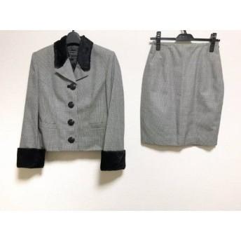 【中古】 ヴェルサス VERSUS スカートスーツ レディース 黒 白 肩パッド/千鳥格子/フェイクファー