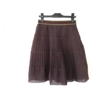 【中古】 ジャスグリッティー JUSGLITTY スカート サイズ2 M レディース ダークブラウン プリーツ