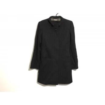 【中古】 ラピーヌブランシュ コート サイズ9 M レディース 黒 ブラウン 春・秋物/ストライプ