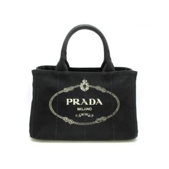 【中古】 プラダ PRADA トートバッグ CANAPA 黒 アイボリー キャンバス