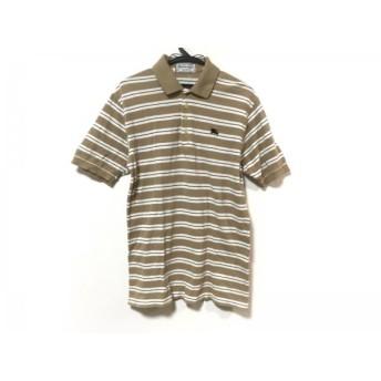 【中古】 バーバリーズ Burberry's 半袖ポロシャツ サイズM メンズ ライトブラウン 白 黒 ボーダー