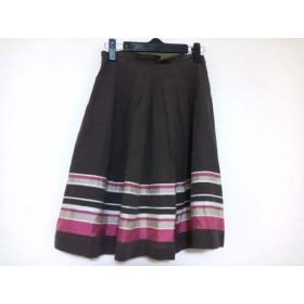【中古】 バーバリーブルーレーベル スカート サイズ36 S レディース ダークブラウン ピンク ベージュ