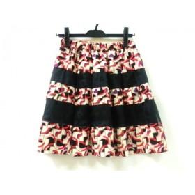 【中古】 アナスイ ANNA SUI ミニスカート サイズ2 S レディース ブラック マルチ