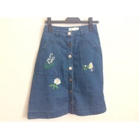 【中古】 チェスティ Chesty スカート サイズ0 XS レディース ブルー デニム/刺繍