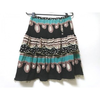 【中古】 ツモリチサト スカート サイズ2 M レディース 黒 ベージュ マルチ ティアード/ビジュー