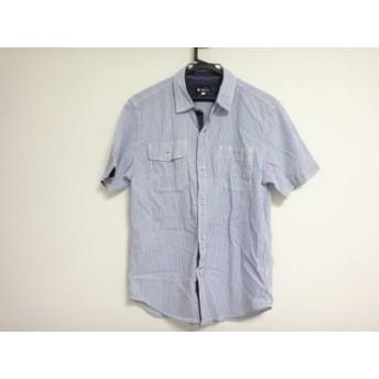 【中古】 ザ ショップ ティーケー 半袖シャツ サイズL メンズ ブルー 白 ストライプ