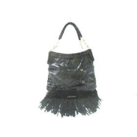 【中古】 ジミーチュウ JIMMY CHOO トートバッグ - 黒 編み込み/フリンジ パイソン スエード