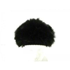 【中古】 ルイヴィトン LOUIS VUITTON 帽子 黒 ベレー帽 カシミヤ フォックス