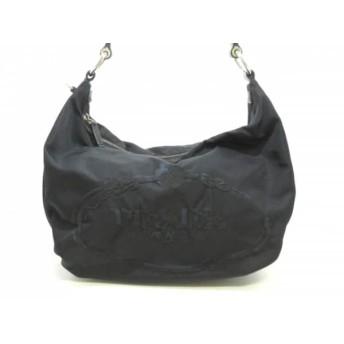 【中古】 プラダ PRADA ハンドバッグ 美品 - 黒 刺繍 ナイロン レザー