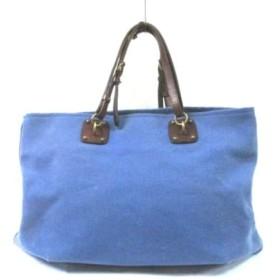 【中古】 ボッテガヴェネタ トートバッグ - 170045 ブルー ダークブラウン キャンバス レザー