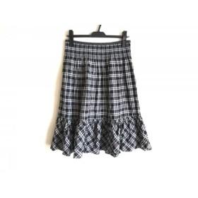 【中古】 レキップ ヨシエイナバ スカート サイズ9 M レディース 黒 白 マルチ チェック柄/フリル