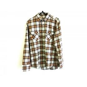 【中古】 バーバリーブラックレーベル 長袖シャツ サイズ3 L メンズ 黒 オレンジ グリーン チェック柄