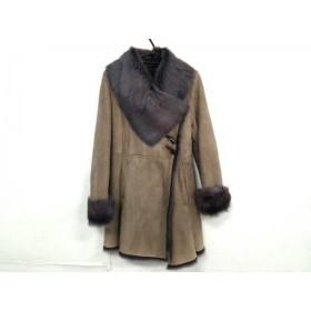 【中古】 スキンバレー Skin Valley コート サイズ38 M レディース ベージュ グレー ムートン/冬物