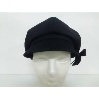 【中古】 ランバンコレクション LANVIN COLLECTION 帽子 美品 黒 コットン