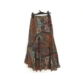 【中古】 グレースコンチネンタル ロングスカート サイズ36 S レディース 美品 ブラウン マルチ