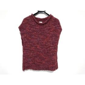 【中古】 マッキントッシュフィロソフィー 半袖セーター サイズ38 L レディース 美品 レッド マルチ