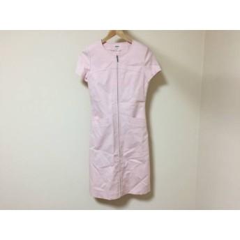 【中古】 フォクシー FOXEY ワンピース サイズ40 M レディース 美品 ライトピンク ジップアップ/半袖