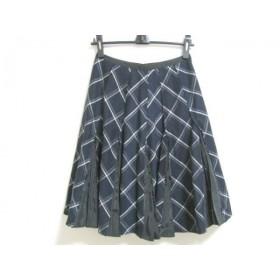【中古】 チェスティ Chesty スカート サイズ1 S レディース 美品 ダークネイビー 白 チェック柄