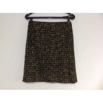 【中古】 ルーニィ LOUNIE スカート サイズ38 M レディース グリーン 黒 マルチ