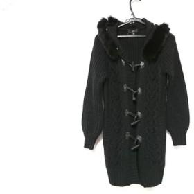 【中古】 バービー Barbie コート レディース 黒 ニット/冬物