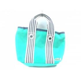 【中古】 ラコステ Lacoste ハンドバッグ グリーン 白 マルチ ストライプ キャンバス 化学繊維