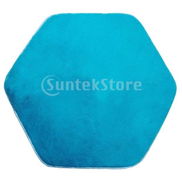 Sharplace 4色選択 滑り止め マット ラグ カーペット 六角形 絨毯 敷物 プレーマット 約140 x 120cm - 青