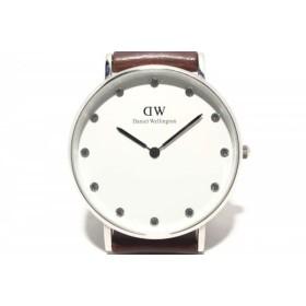edf8641cd5bc 【中古】 ダニエルウェリントン Daniel Wellington 腕時計 - レディース 革ベルト/ラインストーン 白