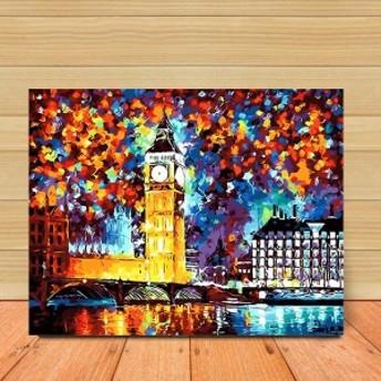 数字塗り絵 油絵風 イギリス ビッグベン 夜景 大人の塗り絵 フレーム絵画 インテリア 風景 DIY 趣味 ぬり絵 ホビー ナンバーピクチャー