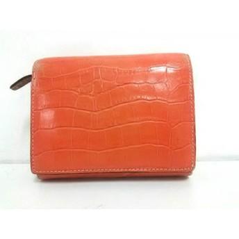 【中古】 トプカピ TOPKAPI 2つ折り財布 オレンジ 型押し加工 レザー