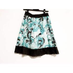 【中古】 アプワイザーリッシェ スカート サイズ2 M レディース ブルー ダークブラウン マルチ 花柄