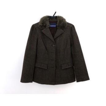 【中古】 バーバリーブルーレーベル コート サイズ38 M レディース ブラウン ショート丈/冬物