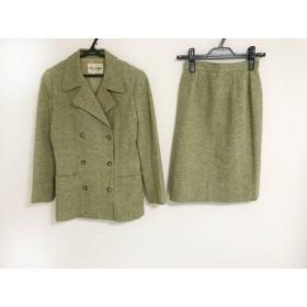 【中古】 ミスアシダ スカートスーツ サイズ7 S レディース グリーン マルチ ツイード/肩パッド