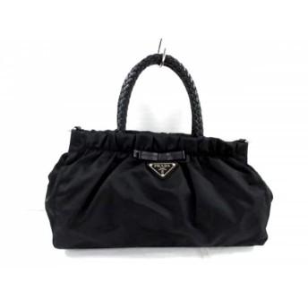 【中古】 プラダ PRADA ハンドバッグ 美品 - BN1631 黒 編み込みハンドル/リボン ナイロン レザー