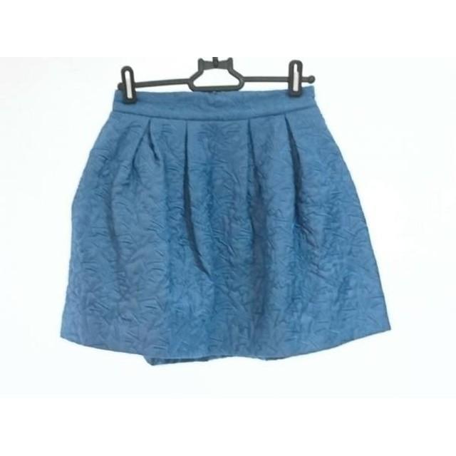 【中古】 リリーブラウン Lily Brown ミニスカート サイズ0 XS レディース 美品 ブルー 刺繍