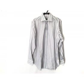 【中古】 サルバトーレフェラガモ 長袖シャツ サイズ41 メンズ 美品 ライトブルー ピンク カーキ