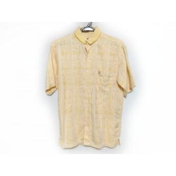 【中古】 マンシングウェア Munsingwear 半袖シャツ サイズM メンズ オレンジ 白 花柄