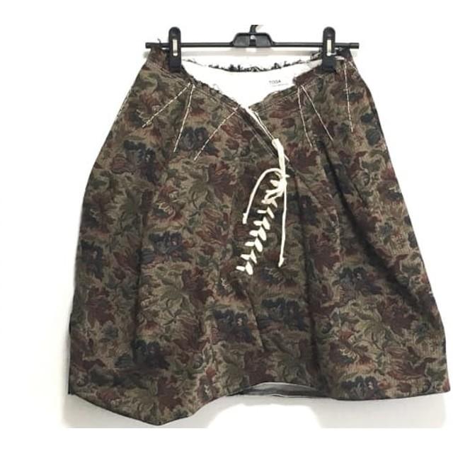 【中古】 トーガ TOGA スカート サイズS レディース ベージュ ダークグリーン マルチ 花柄