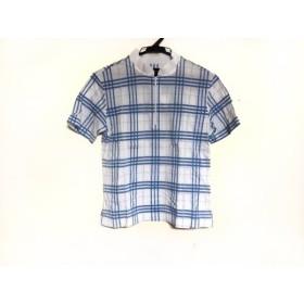 【中古】 バーバリーゴルフ BURBERRYGOLF 半袖ポロシャツ サイズM レディース 白 ライトブルー