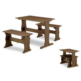 ベンチ&テーブル3点セット ブラウン